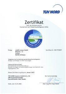 Zertifikat: Fachbetrieb nach WHG