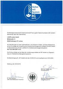Zertifikat: BG Verkehr AMS Zertifizierung