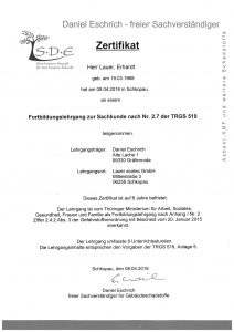 Zertifizierung: Sachkunde nach Nr. 2.7 der TRGS 519
